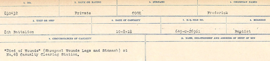 Circumstances of Death– Source: Library and Archives Canada.  CIRCUMSTANCES OF DEATH REGISTERS, FIRST WORLD WAR Surnames:  CONNON TO CORBETT.  Microform Sequence 22; Volume Number 31829_B016731. Reference RG150, 1992-93/314, 166.  Page 219 of 818. Originally buried at DURY HOSPITAL MILITARY CEMETERY, under the wall of the Asylum near the West side of the Amiens-Dury road.  After the Armistice his body was exhumed and re-interred in Villers-Bretonneux Military Cemetery.