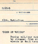 Circumstances of death registers– Source: Library and Archives Canada. CIRCUMSTANCES OF DEATH REGISTERS, FIRST WORLD WAR. Surnames: Deuel to Domoney. Microform Sequence 28; Volume Number 31829_B016737. Reference RG150, 1992-93/314, 172. Page 773 of 1084.