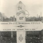 Grave Marker– John Essley Anderson's original grave marker.  Photograph dates from the early 1920's