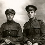 Photo of John Essley Anderson and his friend– Private John Essley Anderson, on the right, and an unnamed fellow soldier of the P.P.C.L.I..  This photograph was taken in late 1917-early 1918 in France.