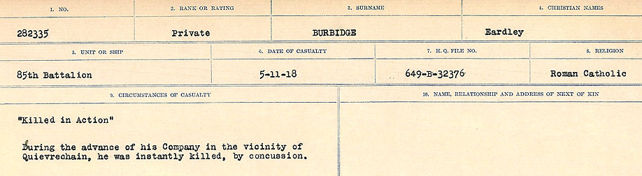 Circumstances of Death Registers– Source: Library and Archives Canada.  CIRCUMSTANCES OF DEATH REGISTERS, FIRST WORLD WAR Surnames:  Burbank to Bytheway. Microform Sequence 16; Volume Number 31829_B016725. Reference RG150, 1992-93/314, 160.  Page 5 of 926.