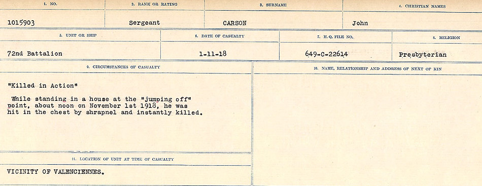Circumstances of Death Registers– Source: Library and Archives Canada.  CIRCUMSTANCES OF DEATH REGISTERS, FIRST WORLD WAR Surnames:  Canavan to Caswell. Microform Sequence 18; Volume Number 31829_B016727. Reference RG150, 1992-93/314, 162.  Page 611 of 1004.