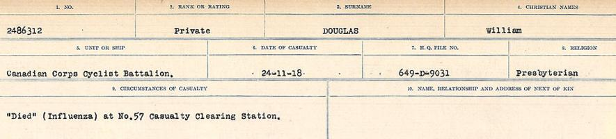 Circumstances of death registers– Source: Library and Archives Canada. CIRCUMSTANCES OF DEATH REGISTERS, FIRST WORLD WAR. Surnames: Don to Drzewiecki. Microform Sequence 29; Volume Number 31829_B016738. Reference RG150, 1992-93/314, 173. Page 537 of 1076.