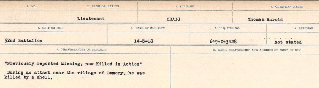 Circumstances of Death Registers– Source: Library and Archives Canada. CIRCUMSTANCES OF DEATH REGISTERS, FIRST WORLD WAR Surnames: CRABB TO CROSSLAND Microform Sequence 24; Volume Number 31829_B016733. Reference RG150, 1992-93/314, 168. Page 125 of 788.