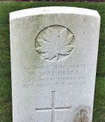 Grave Marker– The grave marker at the Cabaret-Rouge British Cemetery located approximately 6 kilometres from the Vimy Memorial, just outside of Souchez, France. May he rest in peace. (J. Stephens 2010)