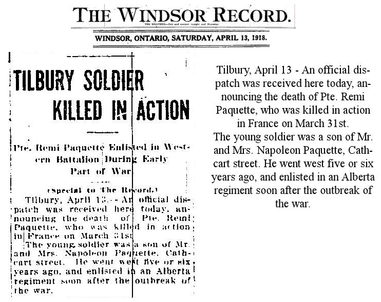 Newspaper Clipping– News source as noted - submission for Remembering Chatham-Kent Heroes