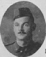 """Photo of Robert Ross– Photo taken from """"A Short History and Photographic Record of the 73rd Battalion, Canadian Expeditionary Force, Royal Highlanders of Canada""""  Page 22.  B Company.  No. 6  Platoon."""