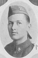 """Photo of Raymond Affleck– Photo taken from """"A Short History and Photographic Record of the 73rd Battalion, Canadian Expeditionary Force, Royal Highlanders of Canada"""" Page 46.  'E' Company."""