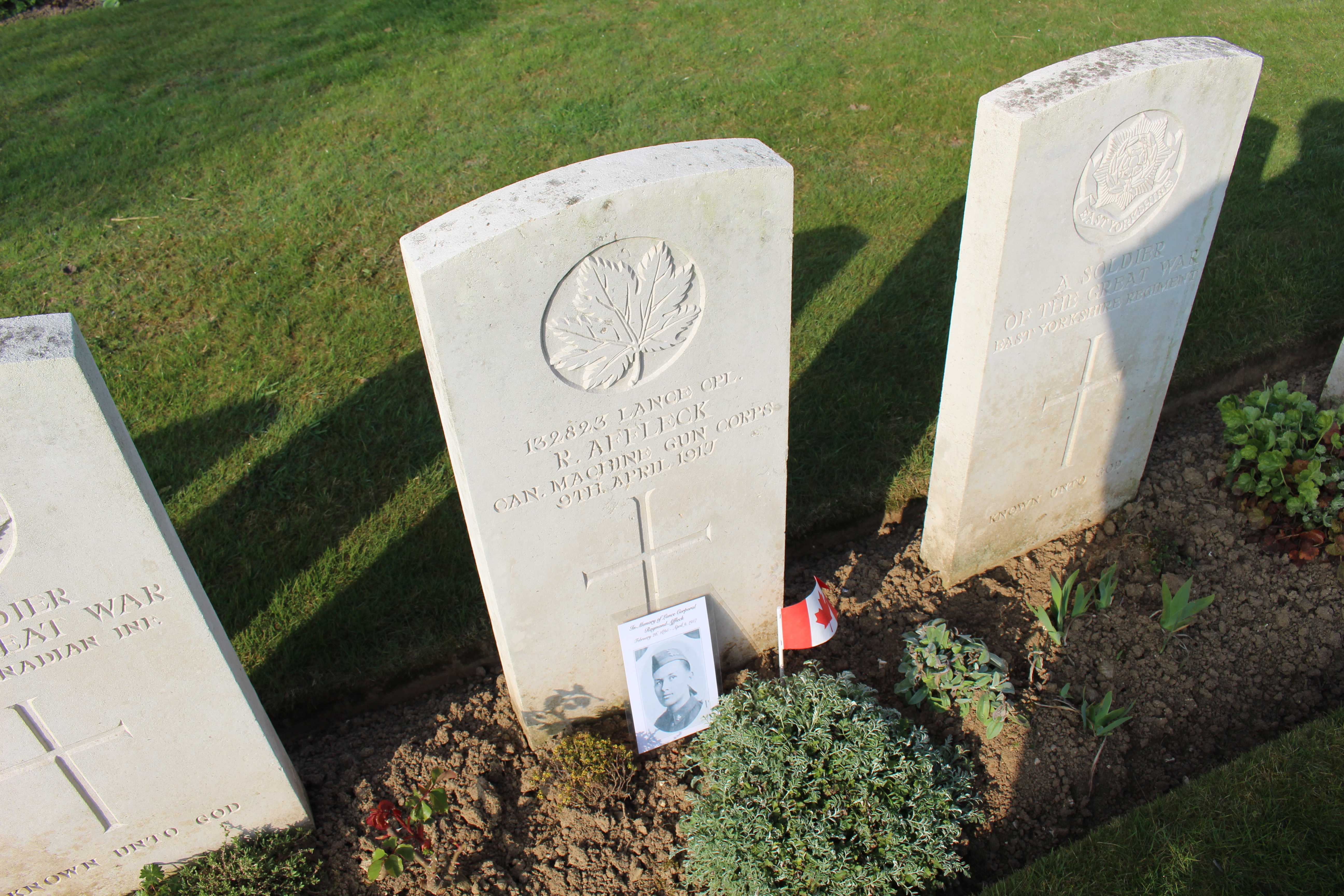 Paying respects– I travelled to France with my school for the 100th Anniversary of Vimy Ridge. As a project, we all researched a soldier and found our soldier in this cemetery. Mine soldier was Raymond.