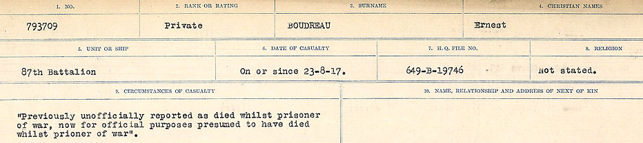Circumstances of Death Registers– Source: Library and Archives Canada.  CIRCUMSTANCES OF DEATH REGISTERS FIRST WORLD WAR Surnames: Border to Boys. Mircoform Sequence 12; Volume Number 131829_B016721; Reference RG150, 1992-93/314, 156 Page 215 of 934