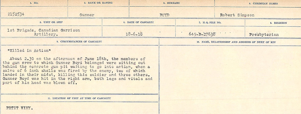 Circumstances of Death Registers– Source: Library and Archives Canada.  CIRCUMSTANCES OF DEATH REGISTERS FIRST WORLD WAR Surnames: Border to Boys. Mircoform Sequence 12; Volume Number 131829_B016721; Reference RG150, 1992-93/314, 156 Page 827 of 934.