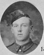 """Photo of Vivian Burrill– Photo taken from """"A Short History and Photographic Record of the 73rd Battalion, Canadian Expeditionary Force, Royal Highlanders of Canada"""" Page 32.  'C' Company.  No. 11 Platoon."""