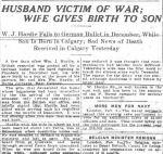 Newspaper article– The Morning Albertan February 9 1915