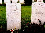 Gravemarker– The graves of Olivier and Wilfred Chenier, brothers killed on the same day, 9 April, 1917 at Vimy, are side by side in Cabaret Rouge cemetery.