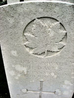 Grave Marker– The grave marker at the Cabaret-Rouge British Cemetery located approximately 6 kilometres from the Vimy Memorial, just outside of Souchez, France. May he rest in peace. (K. Falconer/J. Stephens 2010)