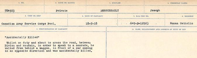 Circumstances of death registers– Source: Library and Archives Canada. CIRCUMSTANCES OF DEATH REGISTERS, FIRST WORLD WAR. Surnames: Davy to Detro. Microform Sequence 27; Volume Number 31829_B016736. Reference RG150, 1992-93/314, 171. Page 1021 of 1036. He was buried in Houdain Church Cemetery. After the Armistice, his body was exhumed and interred in CABARET-ROUGE BRITISH CEMETERY.