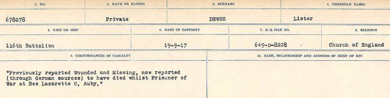 Circumstances of death registers– Source: Library and Archives Canada. CIRCUMSTANCES OF DEATH REGISTERS, FIRST WORLD WAR. Surnames: Deuel to Domoney. Microform Sequence 28; Volume Number 31829_B016737. Reference RG150, 1992-93/314, 172. Page 155 of 1084. His grave was located in Auby Communal Cemetery, 2 ¾ miles North North West of Douai, France. His body was subsequently exhumed and interred in CABARET-ROUGE BRITISH CEMETERY.
