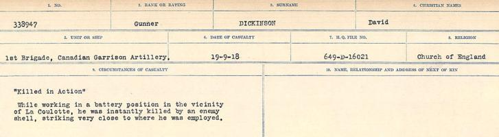 Circumstances of death registers– Source: Library and Archives Canada. CIRCUMSTANCES OF DEATH REGISTERS, FIRST WORLD WAR. Surnames: Deuel to Domoney. Microform Sequence 28; Volume Number 31829_B016737. Reference RG150, 1992-93/314, 172. Page 333 of 1084.