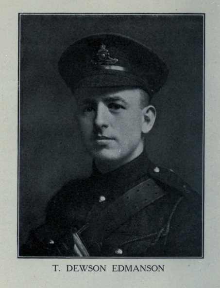 Photo of THOMAS DEWSON EDMANSON– In memory of the students from Parkdale Collegiate Institute (Toronto, Ontario), who went to war and did not come home. Submitted for the project, Operation: Picture Me