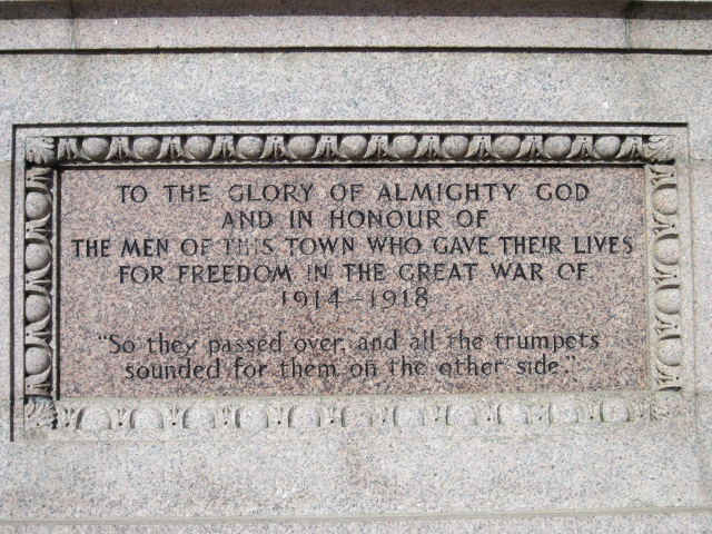 Memorial– Cenotaph inscription at Peterhead, Scotland. Image taken 27 March 2015 by Tom Tulloch.