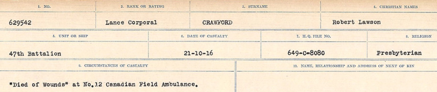 Circumstances of death registers– Source: Library and Archives Canada. CIRCUMSTANCES OF DEATH REGISTERS, FIRST WORLD WAR Surnames: CRABB TO CROSSLAND Microform Sequence 24; Volume Number 31829_B016733. Reference RG150, 1992-93/314, 168. Page 383 of 788.