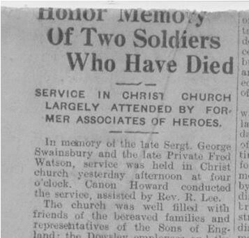 Newspaper clipping– Newsclipping, undated but most likely from Chatham circa 1916 relating the a church service in honour of Private Watson.