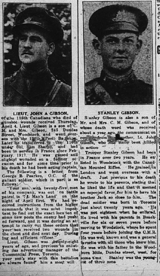 Newspaper clipping– Woodstock Sentinel 1918.