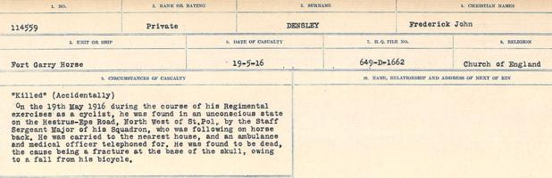 Circumstances of death registers– Source: Library and Archives Canada. CIRCUMSTANCES OF DEATH REGISTERS, FIRST WORLD WAR. Surnames: Davy to Detro. Microform Sequence 27; Volume Number 31829_B016736. Reference RG150, 1992-93/314, 171. Page 803 of 1036.