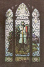 """Stained Glass Window– Stained glass window, """"The Crusader"""" in memory of Lieutenant David Jellett Barker, commissioned by his parents, David and Rose Barker, in the Anglican Church of St. Mary Magdelene, Picton, Ontario."""