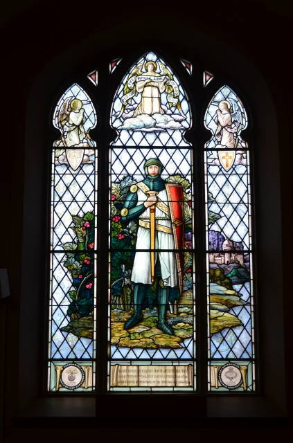 """Memorial Stained Glass– Stained Glass window """"The Crusader"""" donated by the parents of David Jellett Barker, at St. Mary Magdalene Anglican Church, Picton, Ontario."""