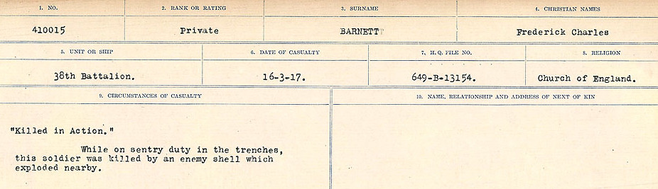 Circumstances of Death Registers– Source: Library and Archives Canada.  CIRCUMSTANCES OF DEATH REGISTERS, FIRST WORLD WAR Surnames:  Bark to Bazinet. Mircoform Sequence 6; Volume Number 31829_B016716. Reference RG150, 1992-93/314, 150.  Page 275 of 1058.