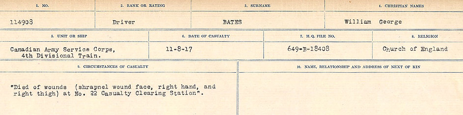 Circumstances of Death Registers– Source: Library and Archives Canada.  CIRCUMSTANCES OF DEATH REGISTERS, FIRST WORLD WAR Surnames:  Bark to Bazinet. Mircoform Sequence 6; Volume Number 31829_B016716. Reference RG150, 1992-93/314, 150.  Page 861 of 1058.