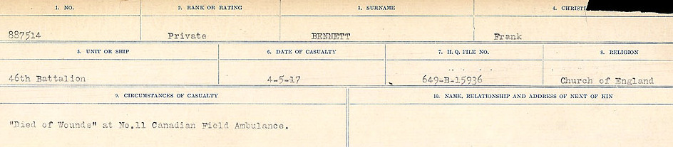 Circumstances of Death– Source: Library and Archives Canada.  CIRCUMSTANCES OF DEATH REGISTERS FIRST WORLD WAR Surnames:  Bell to Bernaquez.  Mircoform Sequence 8; Volume Number 31829_B016718; Reference RG150, 1992-93/314, 152 Page 429 of 670