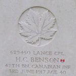 Grave marker– Grave marker for Henry Charles Benson, Service # 629450, buried at Villers Station Cemetery in France.  Approximate Google map location: N50 23 05, E02 39 17. photo courtesy of Abby Chan