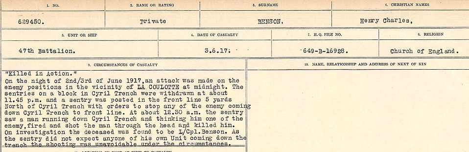 Circumstances of Death– Source: Library and Archives Canada.  CIRCUMSTANCES OF DEATH REGISTERS FIRST WORLD WAR Surnames:  Bell to Bernaquez.  Mircoform Sequence 8; Volume Number 31829_B016718; Reference RG150, 1992-93/314, 152 Page 547 of 670