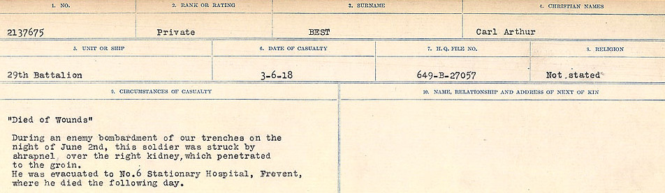 Circumstances of Death Registers– Source: Library and Archives Canada.  CIRCUMSTANCES OF DEATH REGISTERS FIRST WORLD WAR Surnames: Bernard to Binyon. Mircoform Sequence 9; Volume Number 31829_B016719; Reference RG150, 1992-93/314, 153 Page 229 of 652