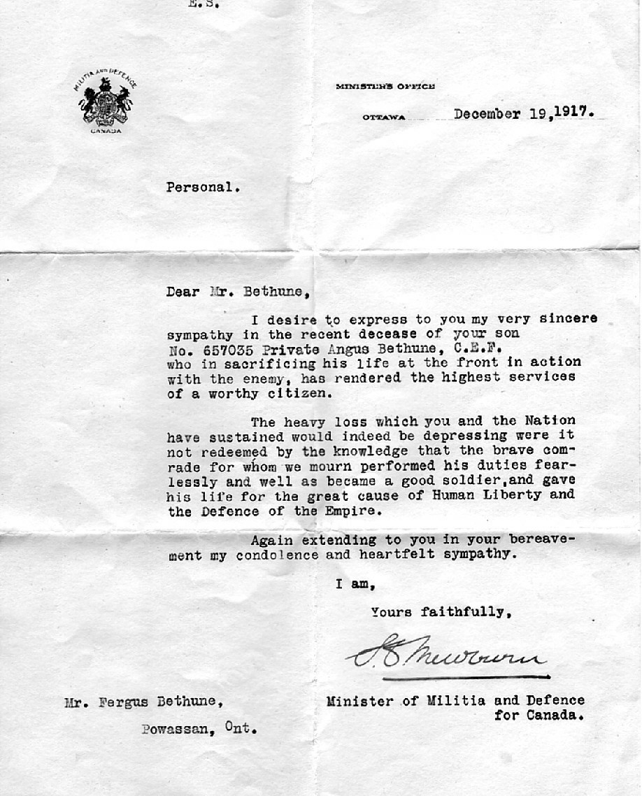 Letter– Letter from War Department to Angus's Mother Re: his death