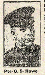 Newspaper clipping– Pte. George Sidney Rowe in the 84th Battalion C.E.F. in Toronto in August 1915.  His father, Arthur Warren Rowe, 27 Fuller Avenue, Toronto, was named as his next-of-kin.  In honoured memory.