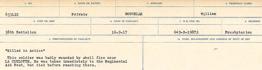 Circumstances of Death Registers– Source: Library and Archives Canada.  CIRCUMSTANCES OF DEATH REGISTERS FIRST WORLD WAR Surnames: Border to Boys. Mircoform Sequence 12; Volume Number 131829_B016721; Reference RG150, 1992-93/314, 156 Page 207 of 934