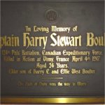 Memorial Plaque– Memorial Plaque for Captain Harry Stewart Boulter.  Located in The Church of the Redeemer (Anglican) at 162 Bloor Street West, Toronto, Ontario.