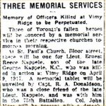 Newspaper Clipping– Article describing the unveiling of the memorial tablet dedicated to Captain Harry Stewart Boulter.