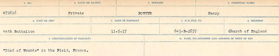 Circumstances of Death Registers– Source: Library and Archives Canada.  CIRCUMSTANCES OF DEATH REGISTERS FIRST WORLD WAR Surnames: Border to Boys. Mircoform Sequence 12; Volume Number 131829_B016721; Reference RG150, 1992-93/314, 156 Page 707 of 934