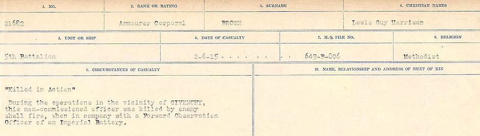 Circumstances of Death– Source: Library and Archives Canada.  CIRCUMSTANCES OF DEATH REGISTERS FIRST WORLD WAR Surnames: Broad to Broyak. Mircoform Sequence 14; Volume Number 31829_B016723; Reference RG150, 1992-93/314, 158 Page 791 of 1128