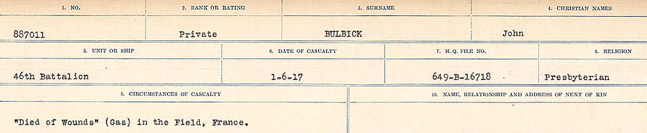 Circumstances of Death Registers– Source: Library and Archives Canada.  CIRCUMSTANCES OF DEATH REGISTERS FIRST WORLD WAR Surnames: Brubacher to Bunyan. Mircoform Sequence 15; Volume Number 31829_B016724; Reference RG150, 1992-93/314, 159 Page 495 of 668