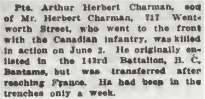 Newspaper clipping– From the Daily Colonist of June 16, 1917. Image taken from web address of https://archive.org/stream/dailycolonist59y162uvic#page/n0/mode/1up