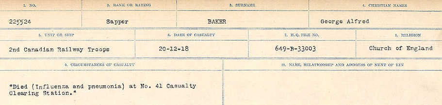 Circumstances of Death Registers– Source: Library and Archives Canada.  CIRCUMSTANCES OF DEATH REGISTERS, FIRST WORLD WAR Surnames:  Babb to Barjarow. Microform Sequence 5; Volume Number 31829_B016715. Reference RG150, 1992-93/314, 149.  Page 453 of 1072.