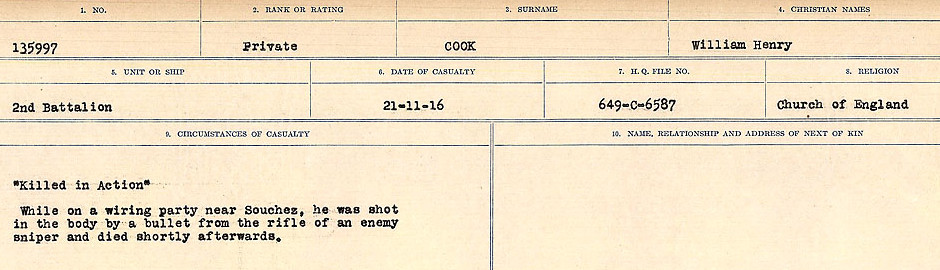 Circumstances of Death Registers– Source: Library and Archives Canada.  CIRCUMSTANCES OF DEATH REGISTERS, FIRST WORLD WAR Surnames:  CONNON TO CORBETT.  Microform Sequence 22; Volume Number 31829_B016731. Reference RG150, 1992-93/314, 166.  Page 339 of 818.