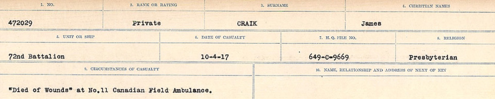 Circumstances of death registers– Source: Library and Archives Canada. CIRCUMSTANCES OF DEATH REGISTERS, FIRST WORLD WAR Surnames: CRABB TO CROSSLAND Microform Sequence 24; Volume Number 31829_B016733. Reference RG150, 1992-93/314, 168. Page 163 of 788.