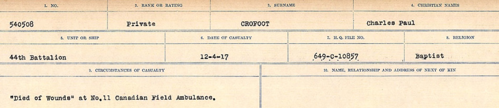 Circumstances of death registers– Source: Library and Archives Canada. CIRCUMSTANCES OF DEATH REGISTERS, FIRST WORLD WAR Surnames: CRABB TO CROSSLAND Microform Sequence 24; Volume Number 31829_B016733. Reference RG150, 1992-93/314, 168. Page 603 of 788.