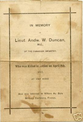 Memorial Program (Page 1)